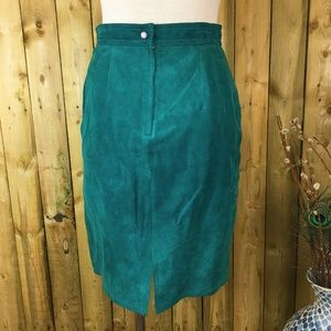 Vintage Skirts - Vintage Teal Green Leather Pencil Skirt